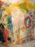 Judgement of Paris (oil on glass, 30 x 40cm)