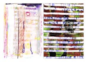 collage, marker pen, highlighter pen, watercolour on paper 39.5x29.5cm
