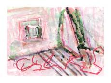 No title - Watercolour, spray-paint, pen on paper 29.5x21cm